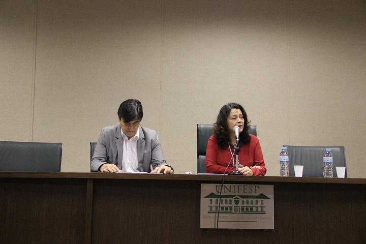 Da esquerda para a direita: Jair Chagas, diretor do NIT/Unifesp, e Soraya Smaili, reitora da Unifesp
