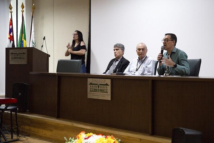 Abertura da VI Semana do Servidor Público da Unifesp. Da esquerda para a direira: Murched Omar Taha, Nelson Sass e Norberto Lobo