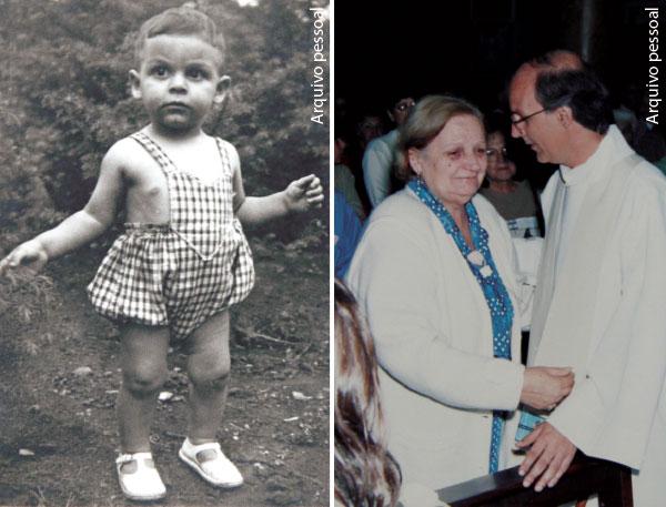 Duas fotos - Julio com dois anos de idade, e com sua mãe